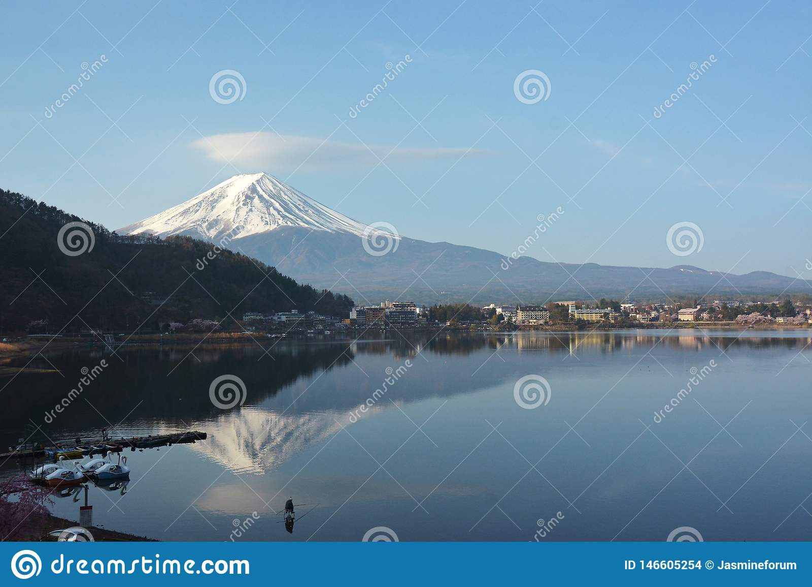 Mountain Fuji in lake Kawaguchi
