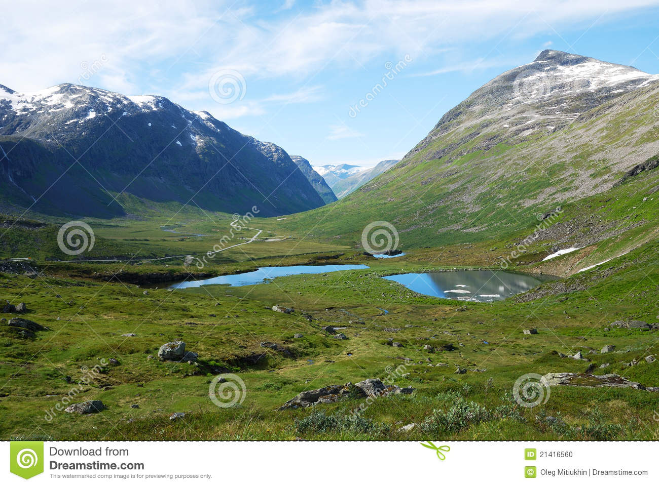 Mountain Gentle Slope With Small Lakes Norway Stock