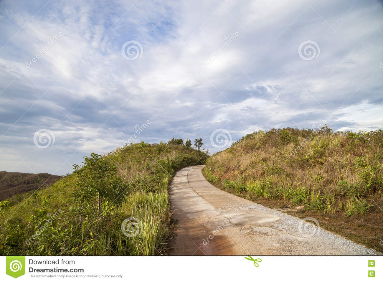 Mountain hill viewpoint with road path way ,scenic landmark at B