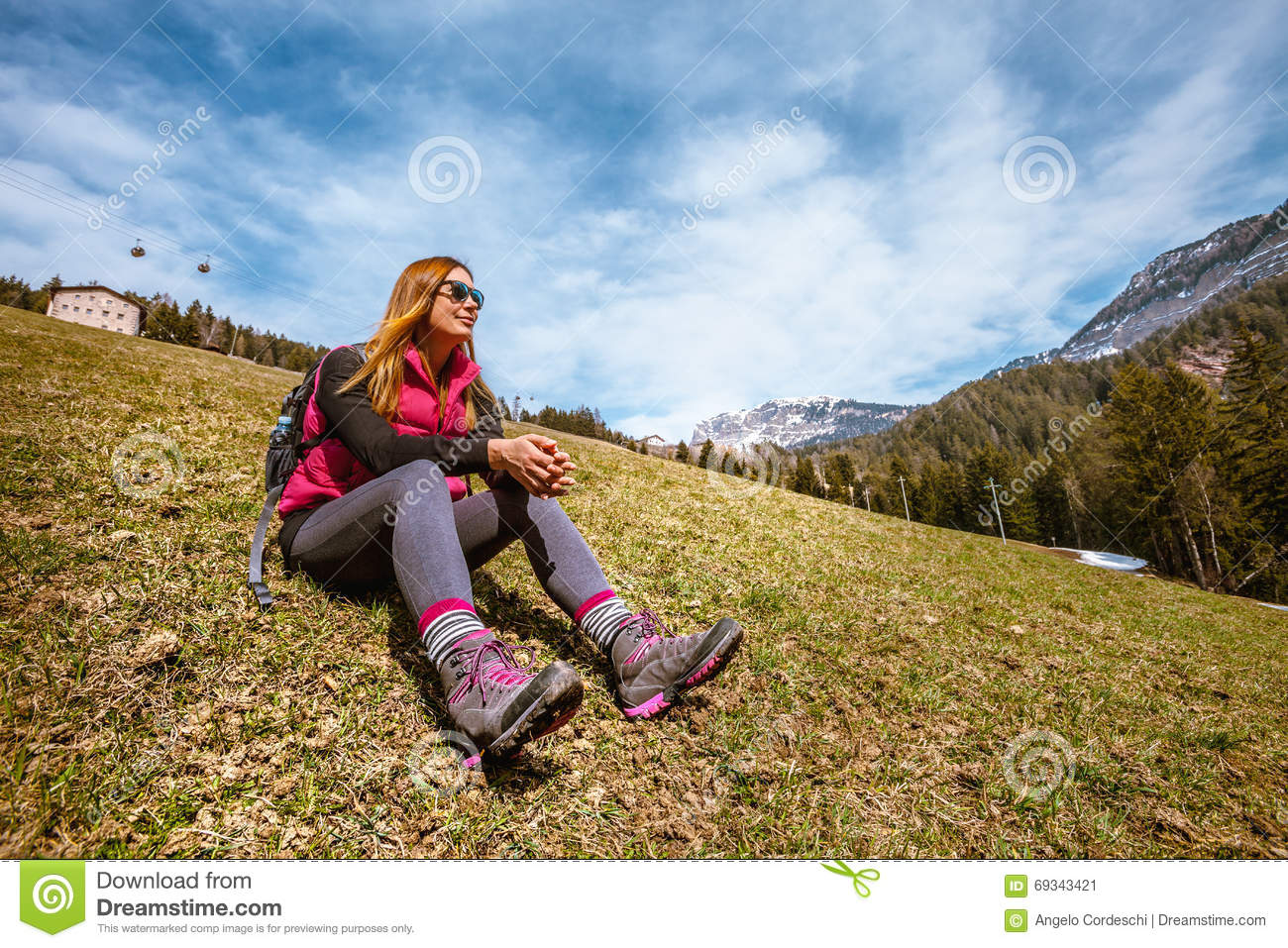 Mountain holidays. Hiking. Woman and nature