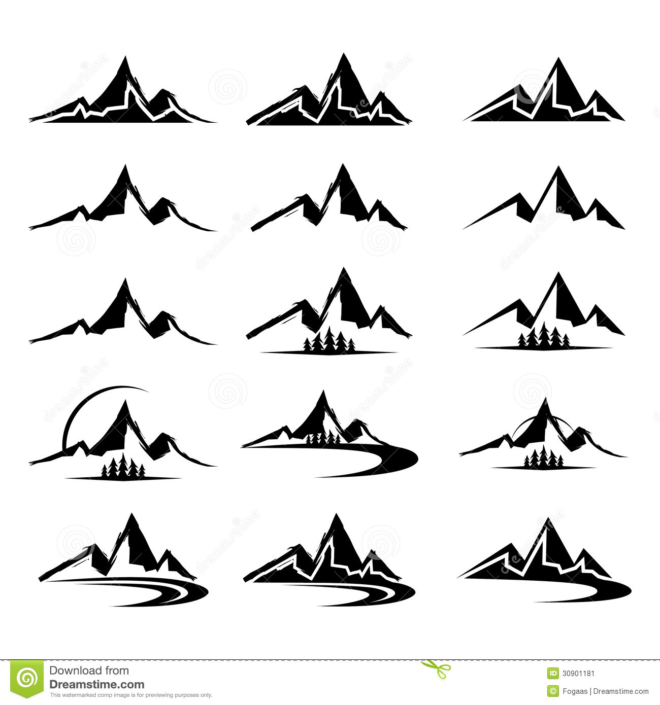 Mountain Icon Set In Black Color Isolated From Background