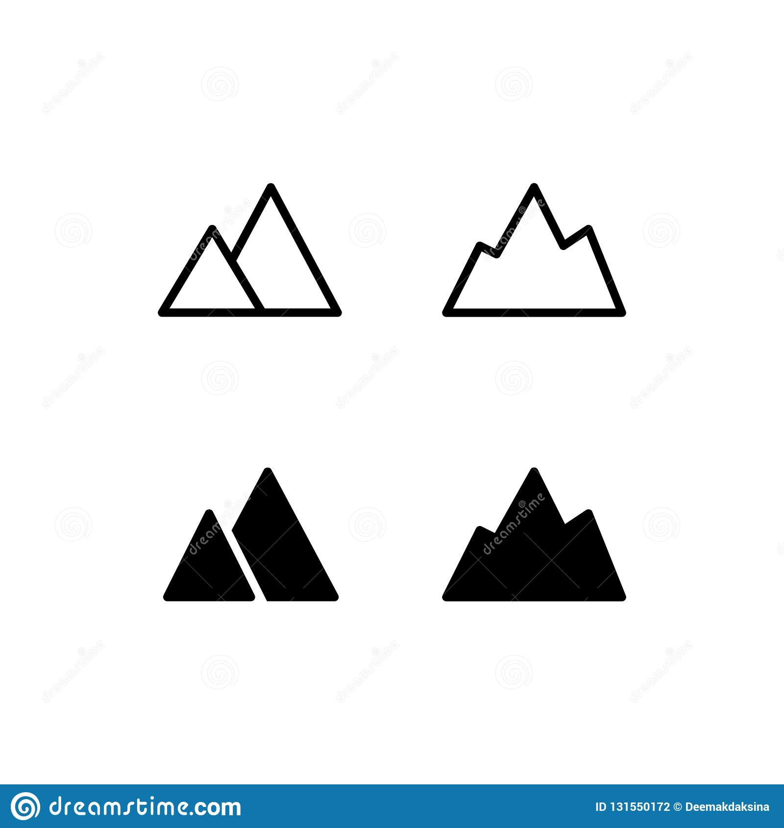 vector logo with illustration of alpine mountain cartoon. Black Bedroom Furniture Sets. Home Design Ideas
