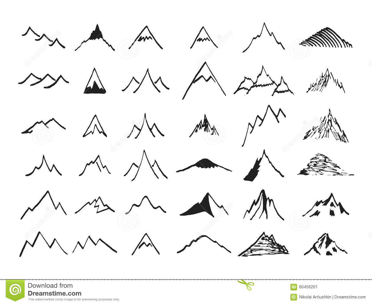 Hand Drawing Line Icons : Mountain icons set hand drawn stock vector illustration