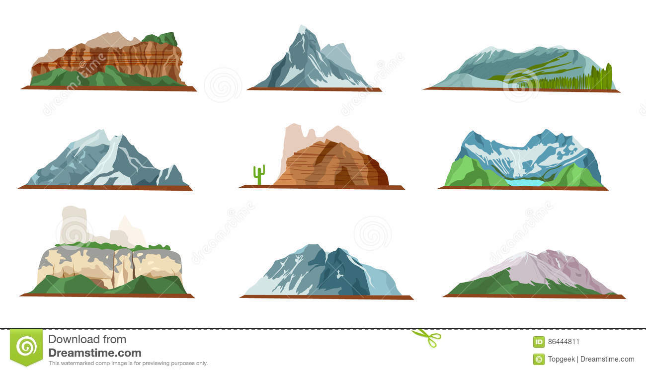 Cartoon Landscape Design Elements Set Top View Vector