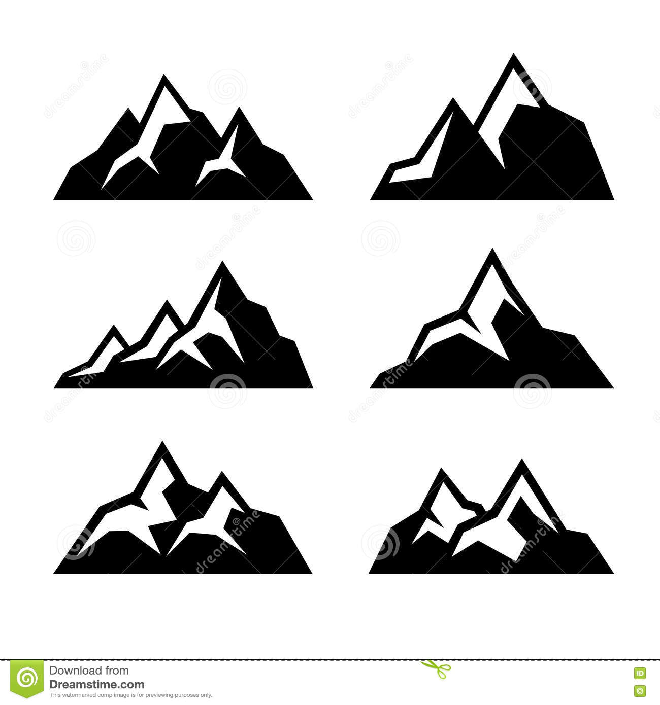 Mountain Icons Set On White Background. Vector Stock ...