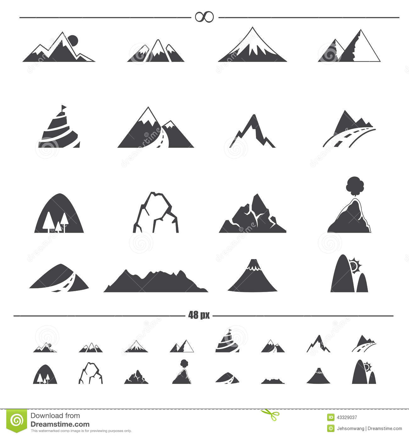 Mountain Icons Vector Stock Vector - Image: 43329037