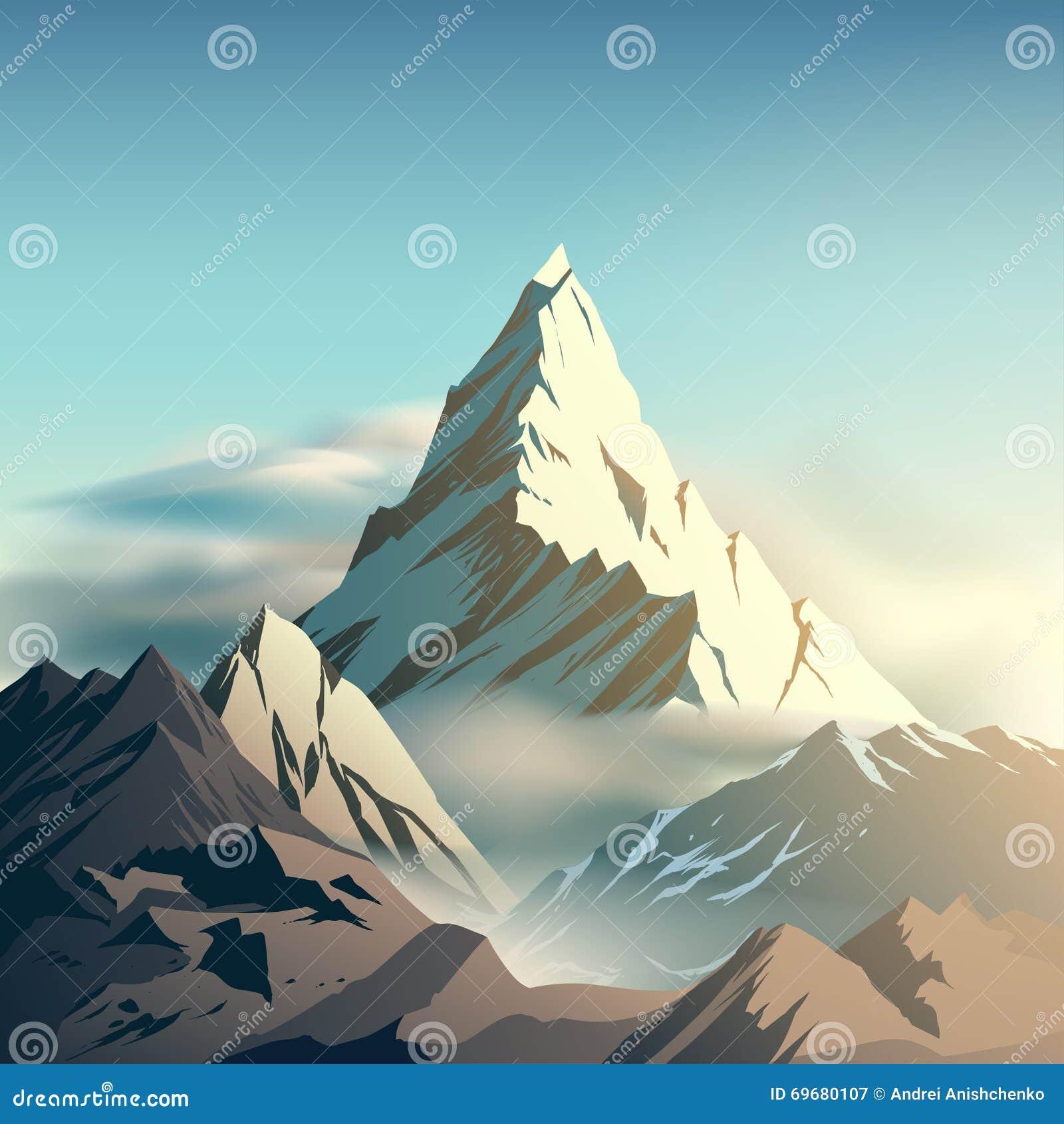 Stock Illustration Mountain Illustration Clouds Vector Image69680107