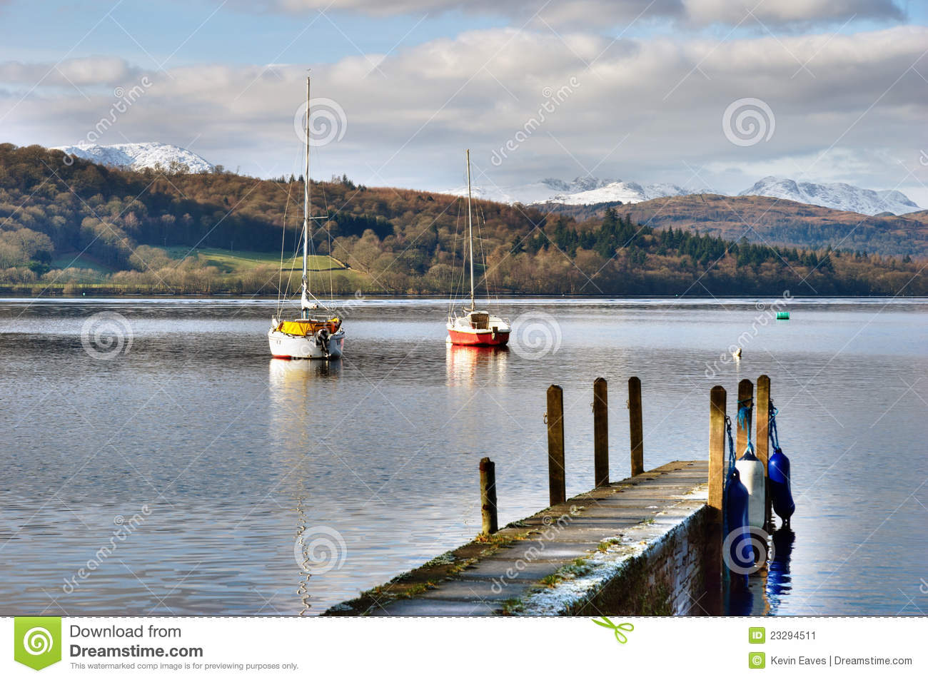 Mountain lake with fishing boats stock image image 23294511 for Lake fishing boats