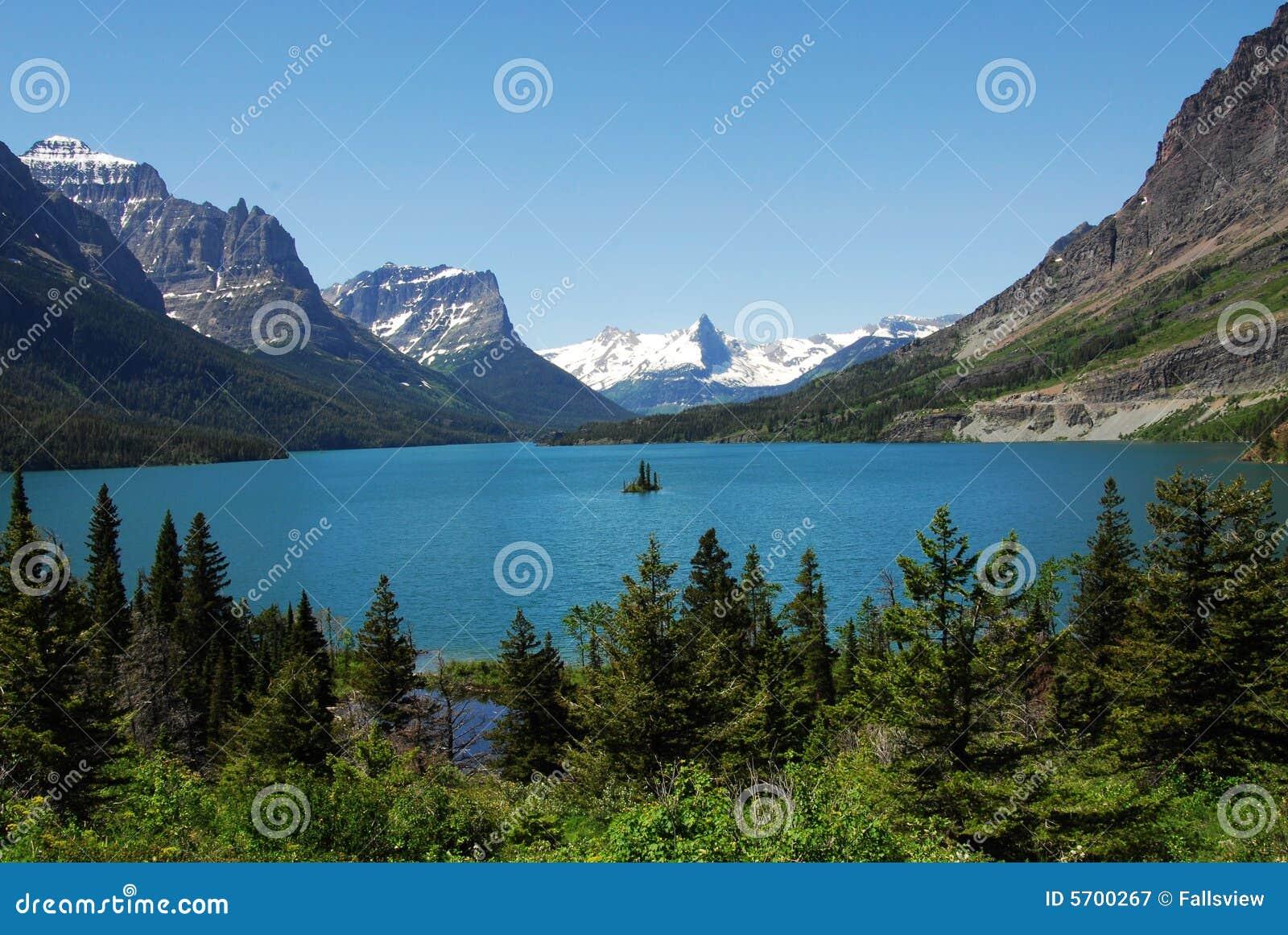 Mountain, lake and island