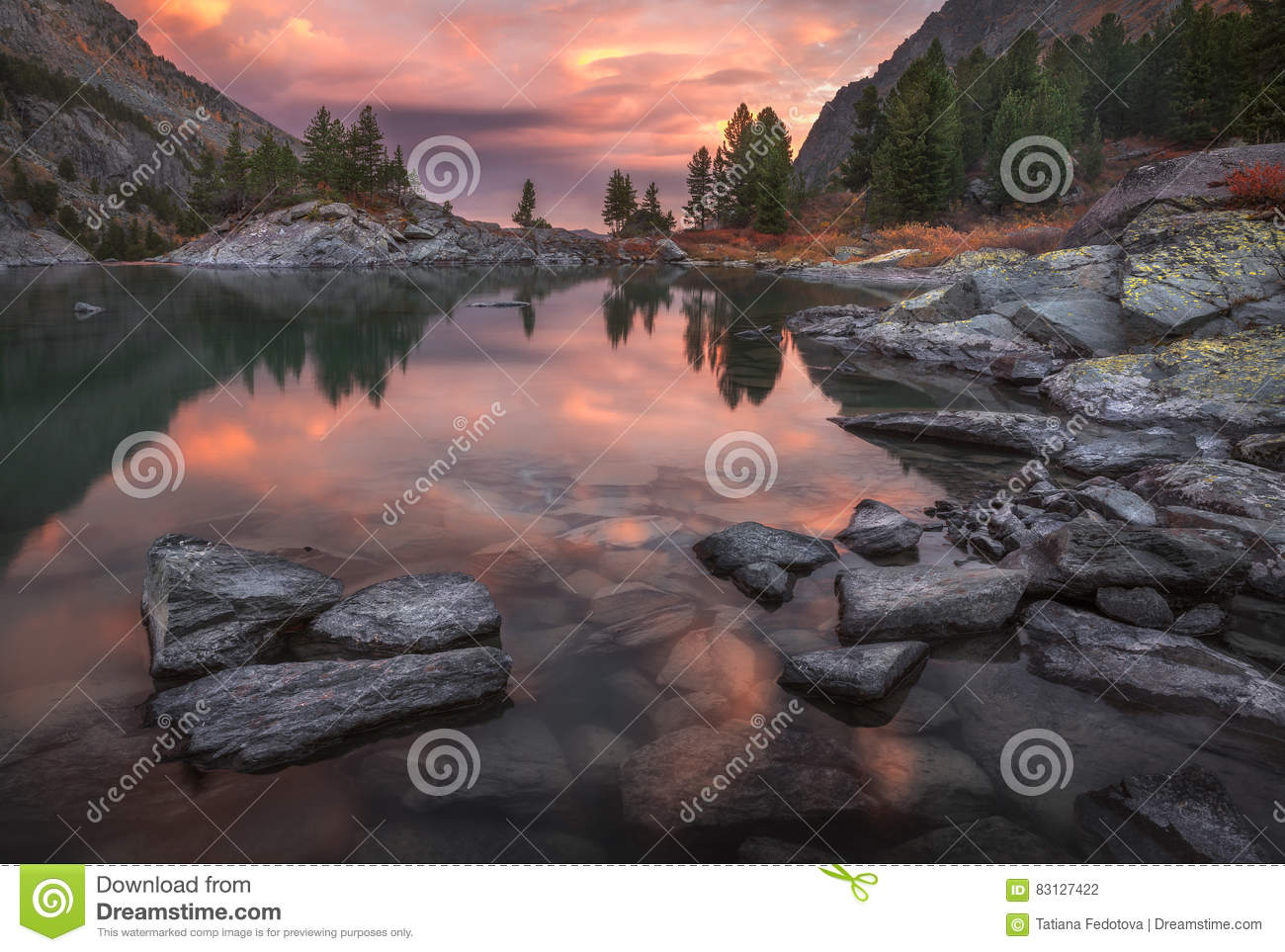 Mountain Lake Sunset Coast With Pine Forest And Rocks, Altai Mountains Highland Nature Autumn Landscape Photo