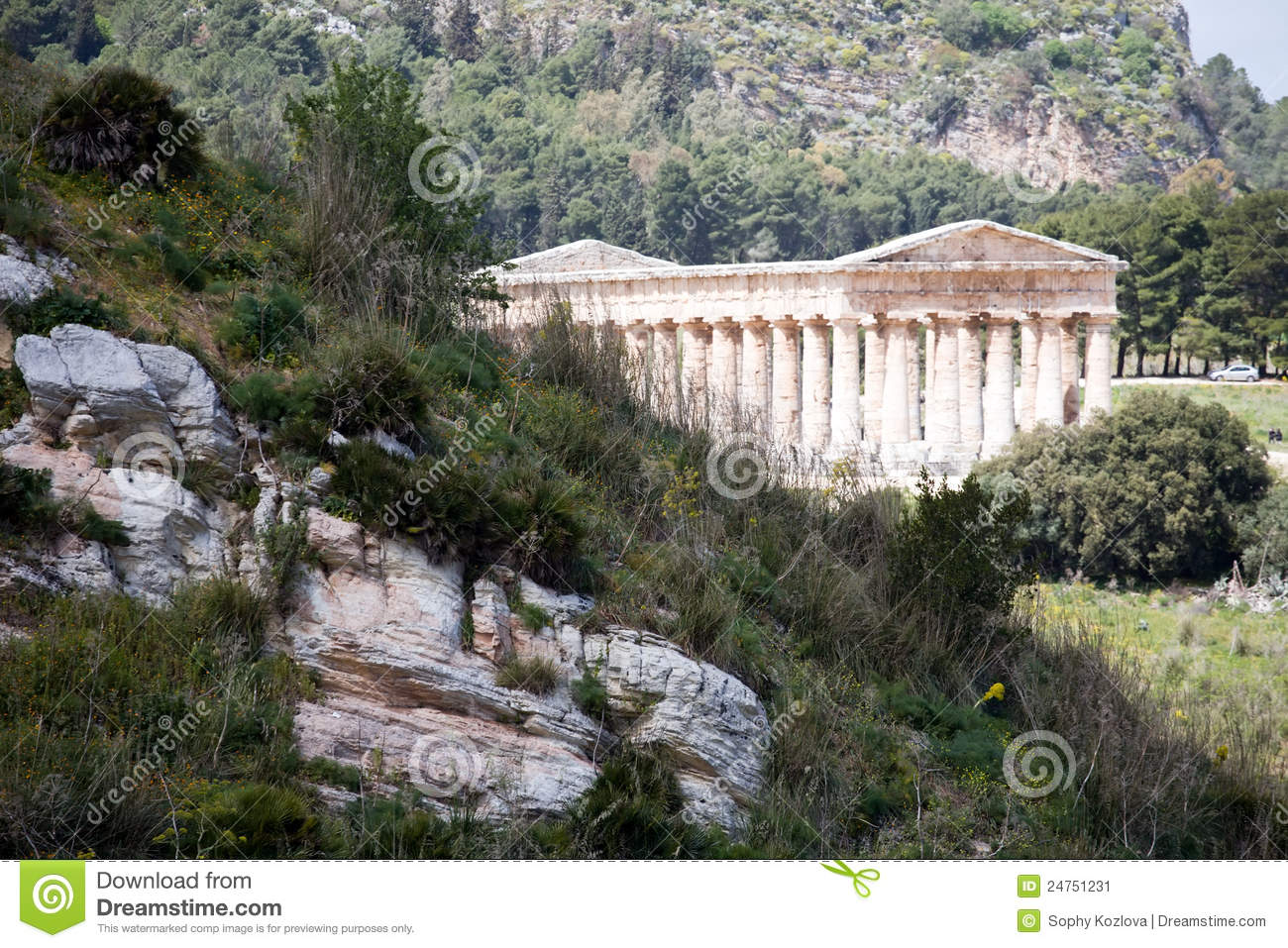 Mountain Landscape With Ancient Greek Temple Stock Image ... Greek Columns Vector