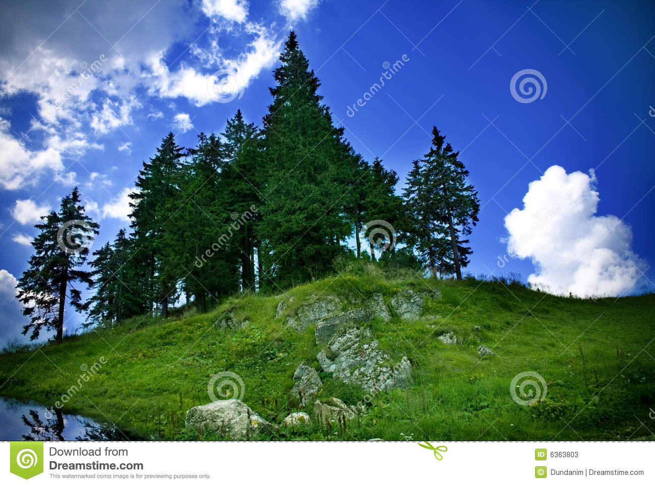 Mountain Landscape - Green Grass, Trees And Sky Stock ...