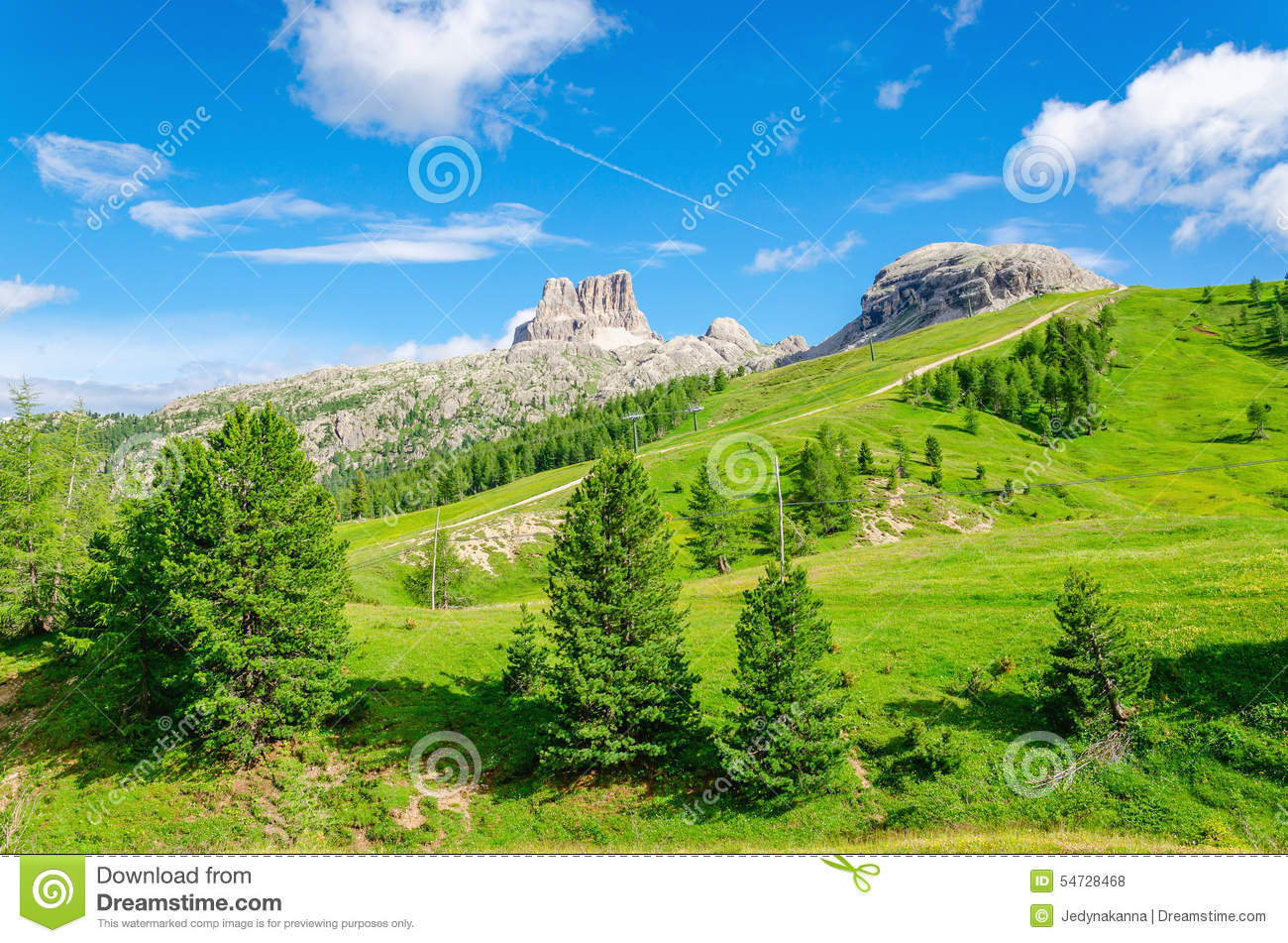 Mountain landscape with green pines italy stock photo for Green italy