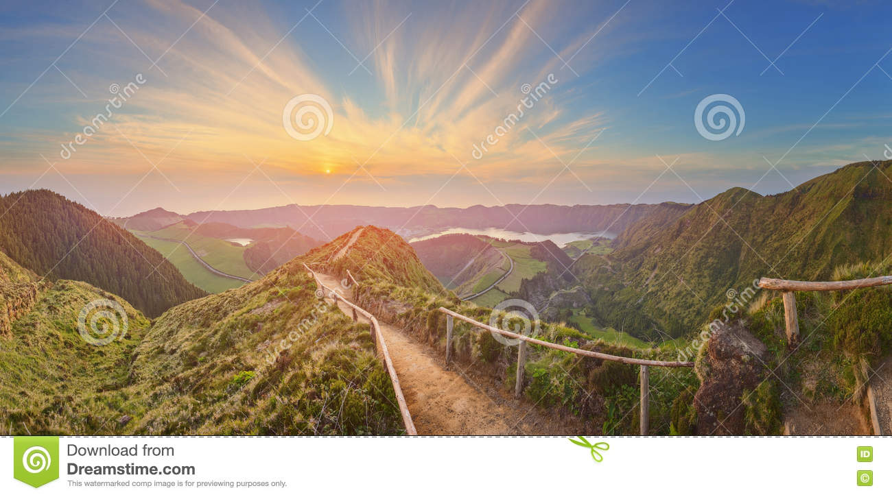 Mountain landscape with hiking trail and view of beautiful lakes, Ponta Delgada, Sao Miguel Island, Azores, Portugal