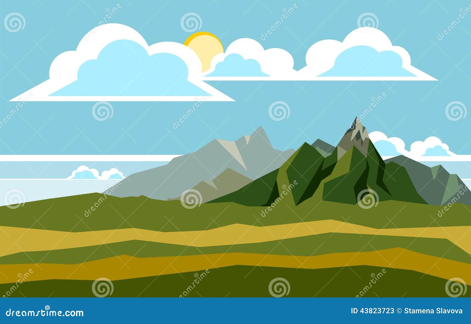 Landscape Illustration Vector Free: Mountain Landscape Illustration Stock Vector