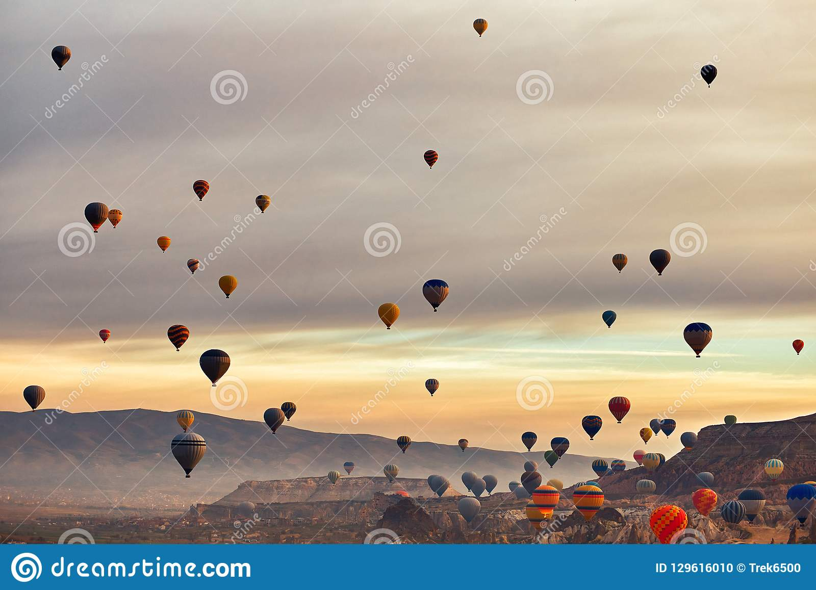 Mountain landscape with large balloons in a short summer season