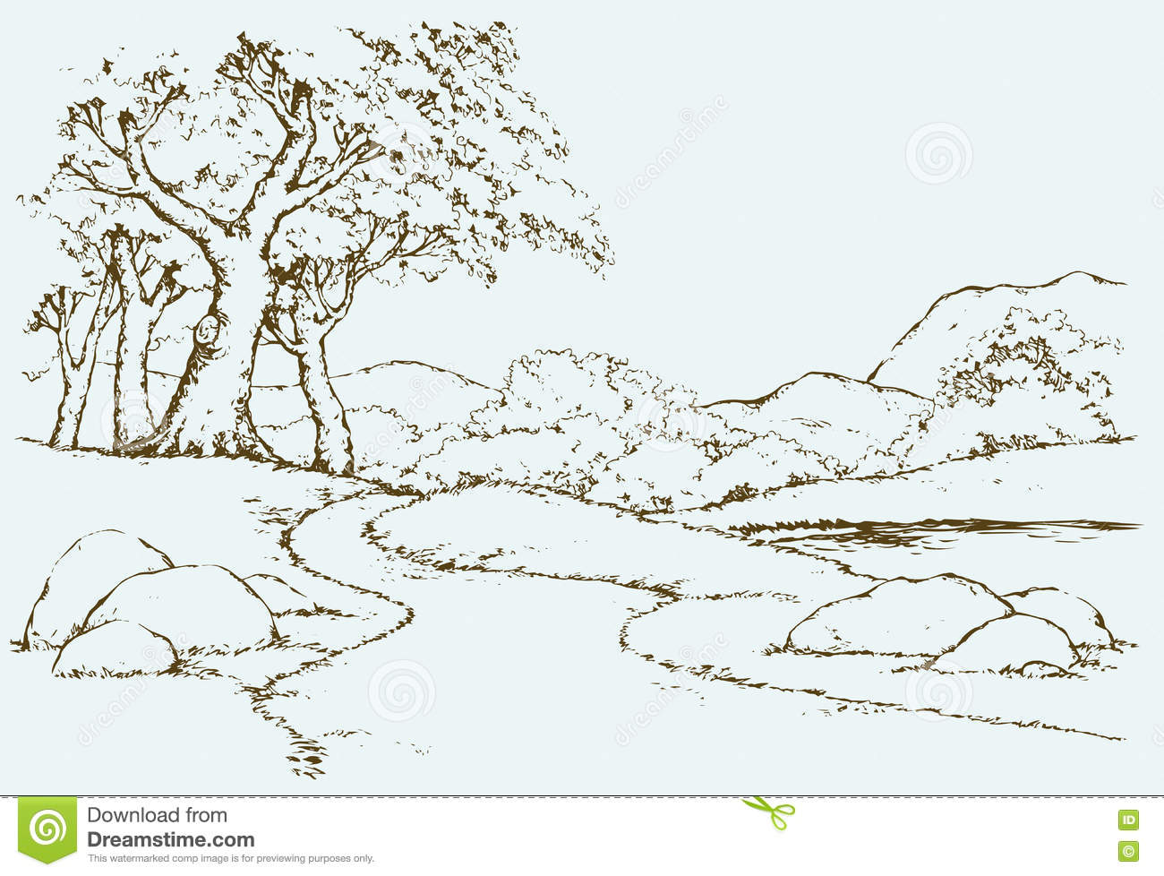 Mountain Landscape With Oak Trees Vector Drawing Stock Vector