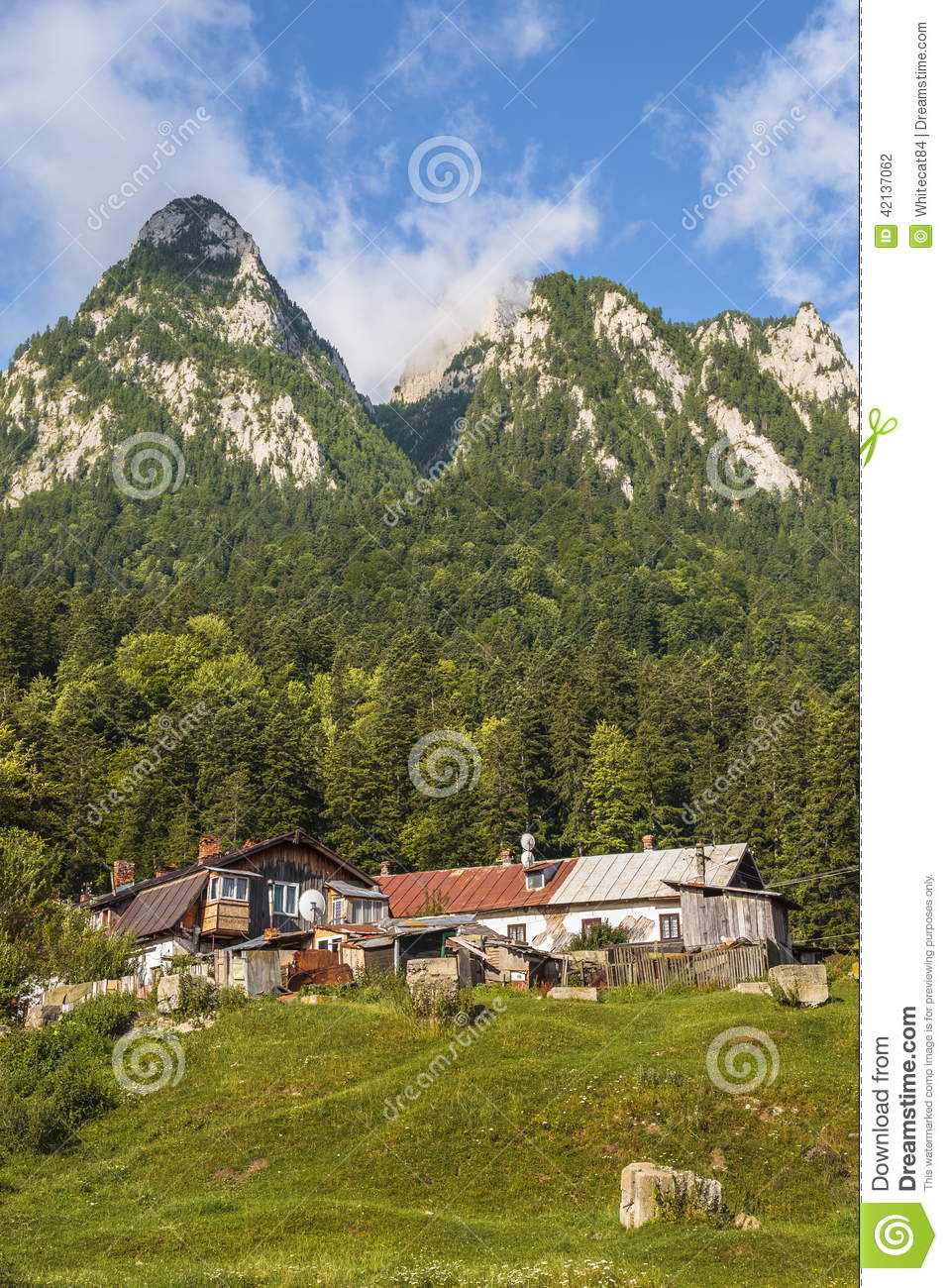 Mountain Landscape With Old Houses Stock Photo Image