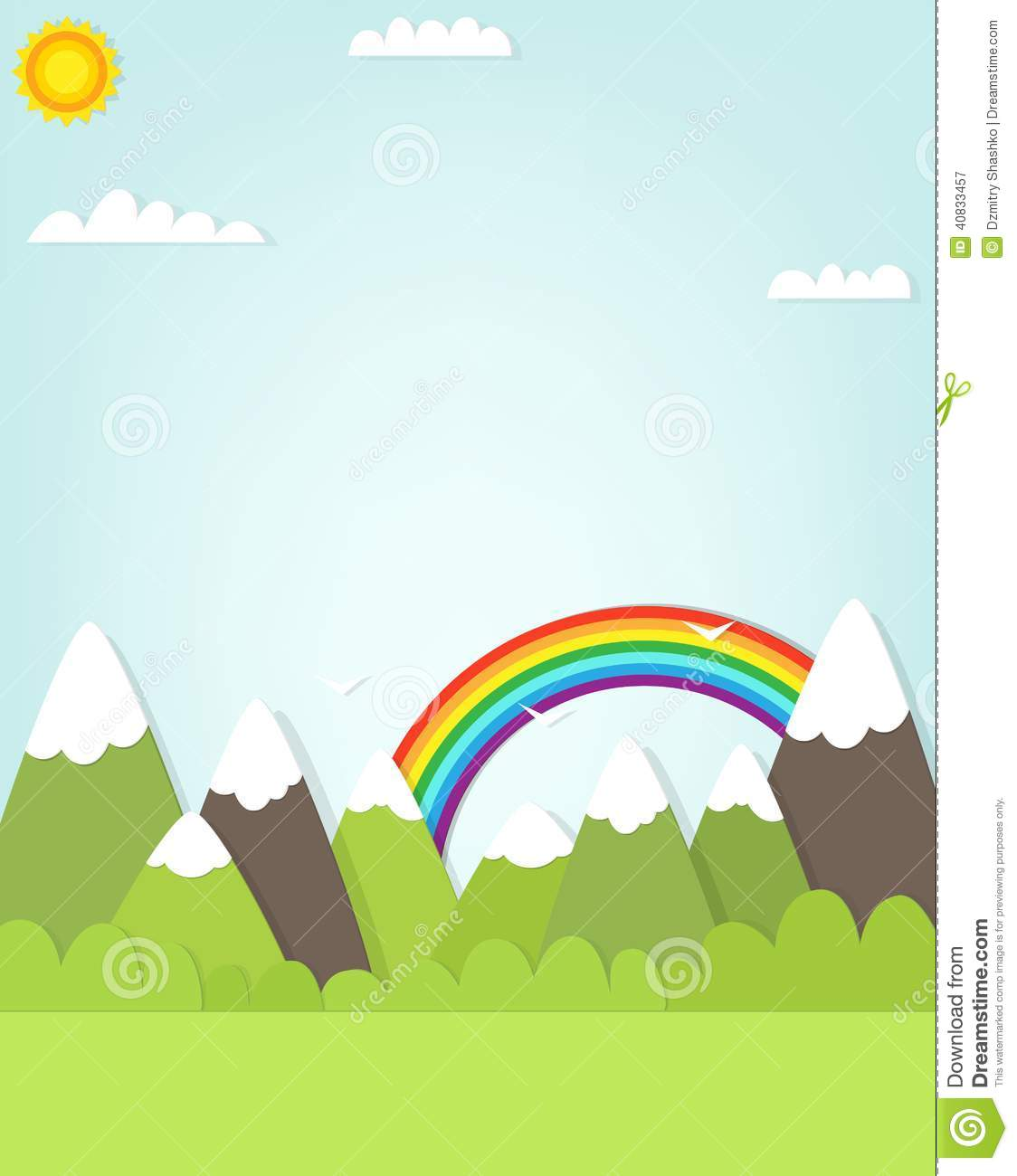 Cliparts Landscape with Rainbow