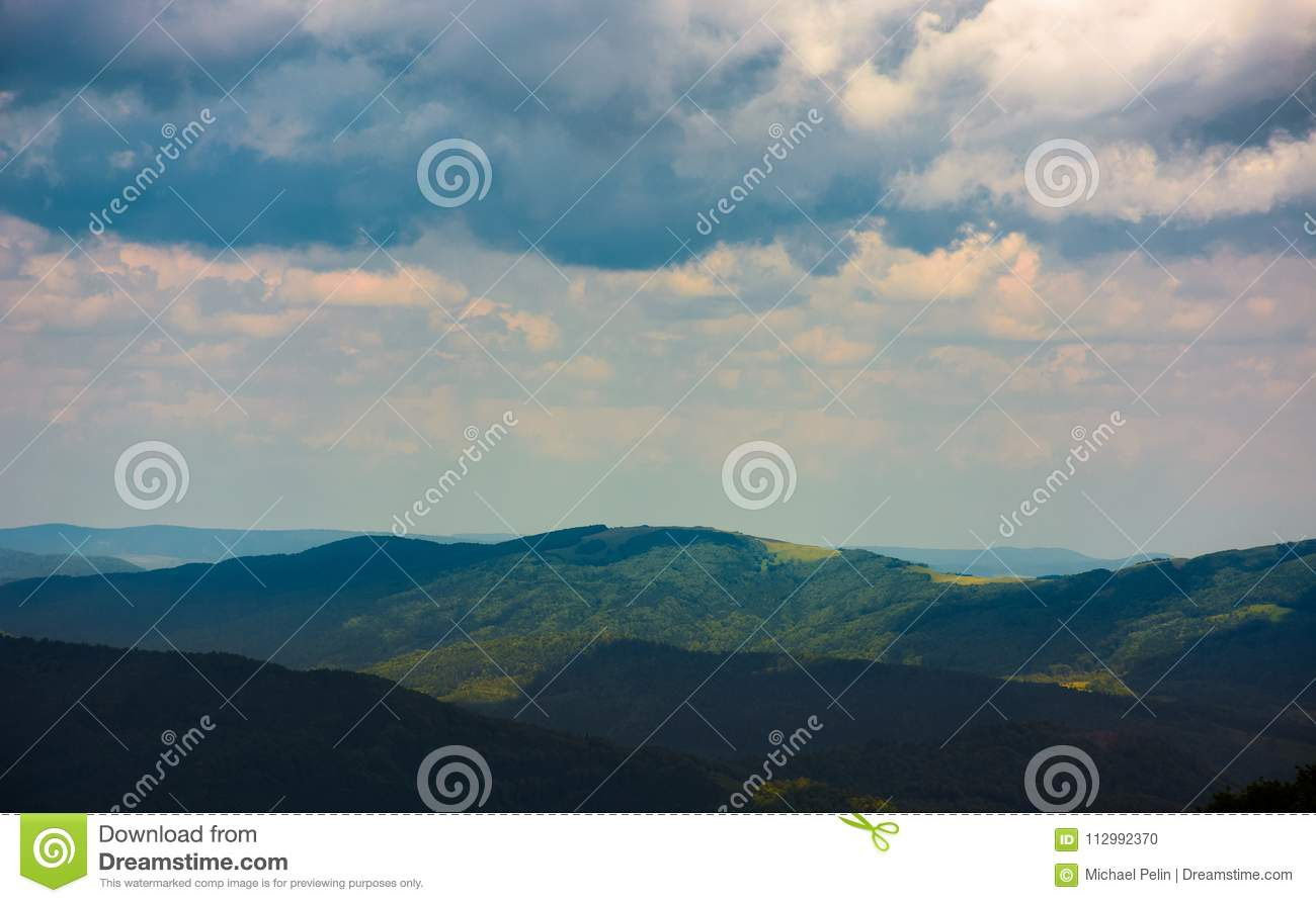 Mountain landscape in rainy weather