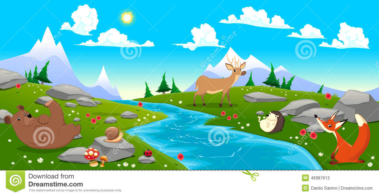 Mountain Landscape With River And Animals Stock Vector