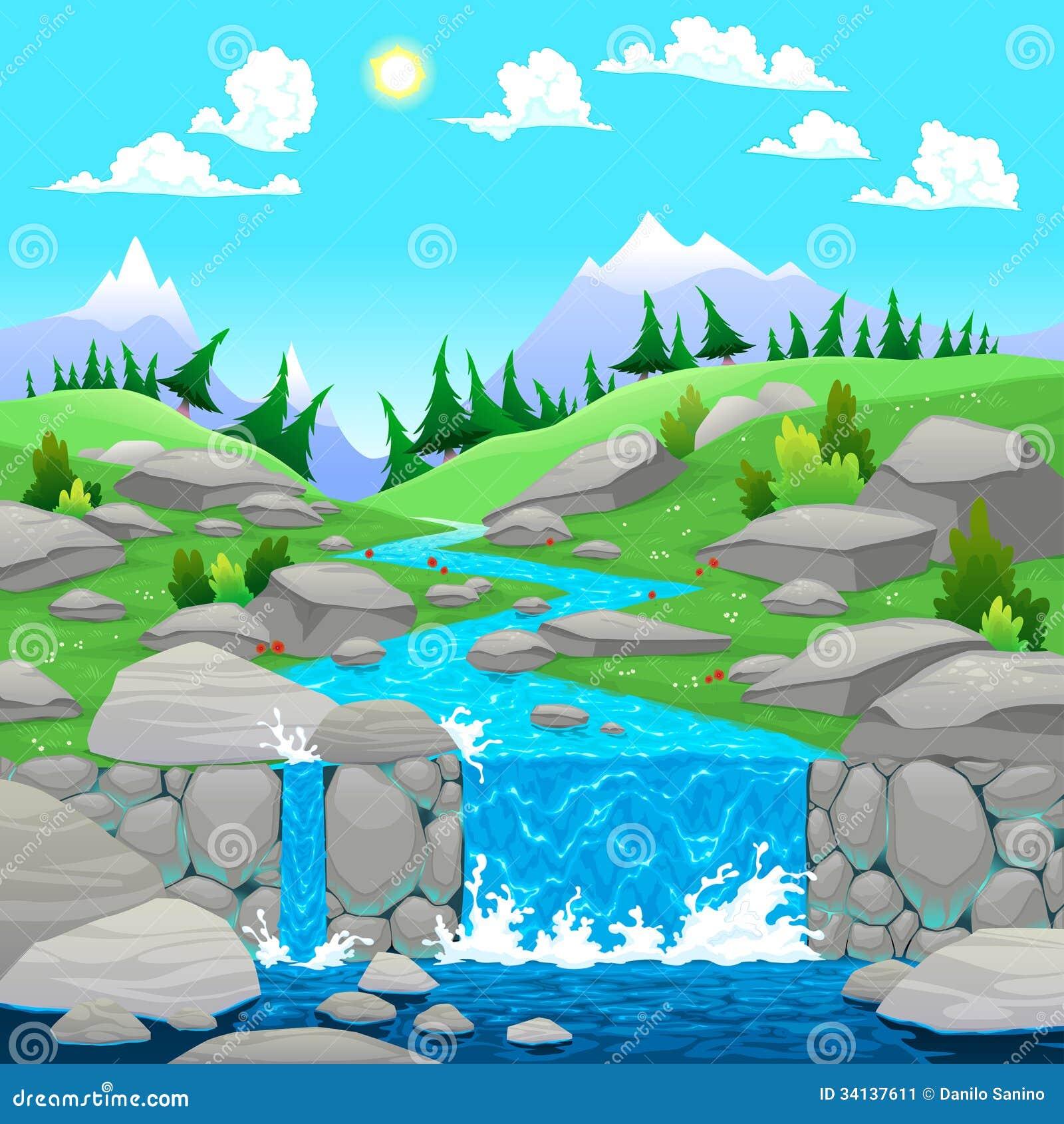 flowing river cartoon - photo #43