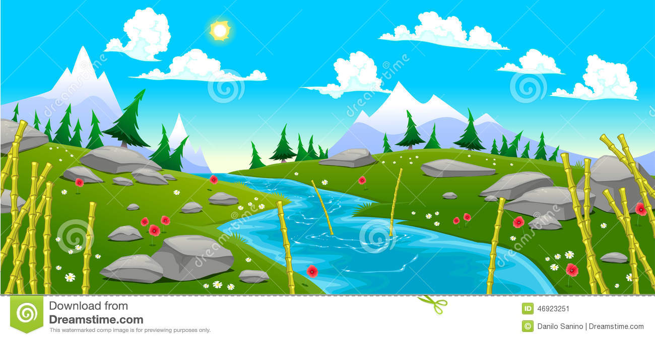 Mountain Landscape With River. Stock Vector