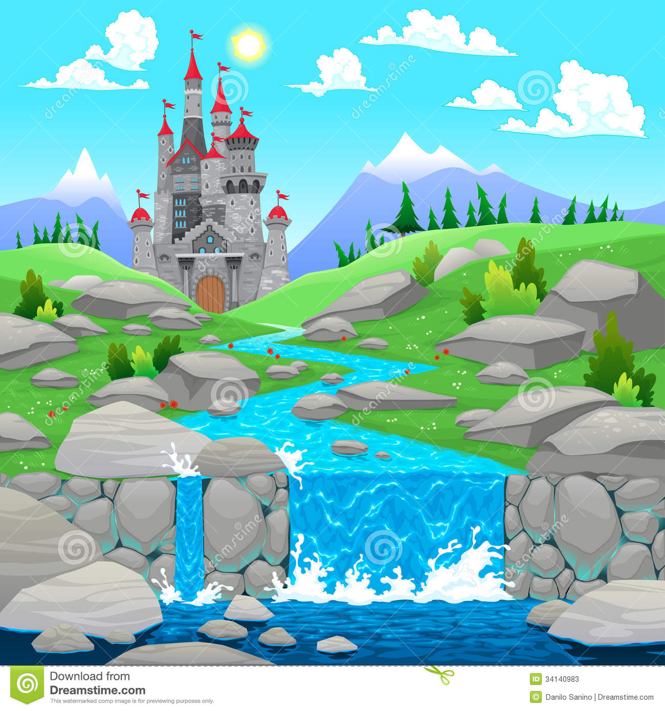 Town Landscape Vector Illustration: Mountain Landscape With River And Castle. Stock Vector