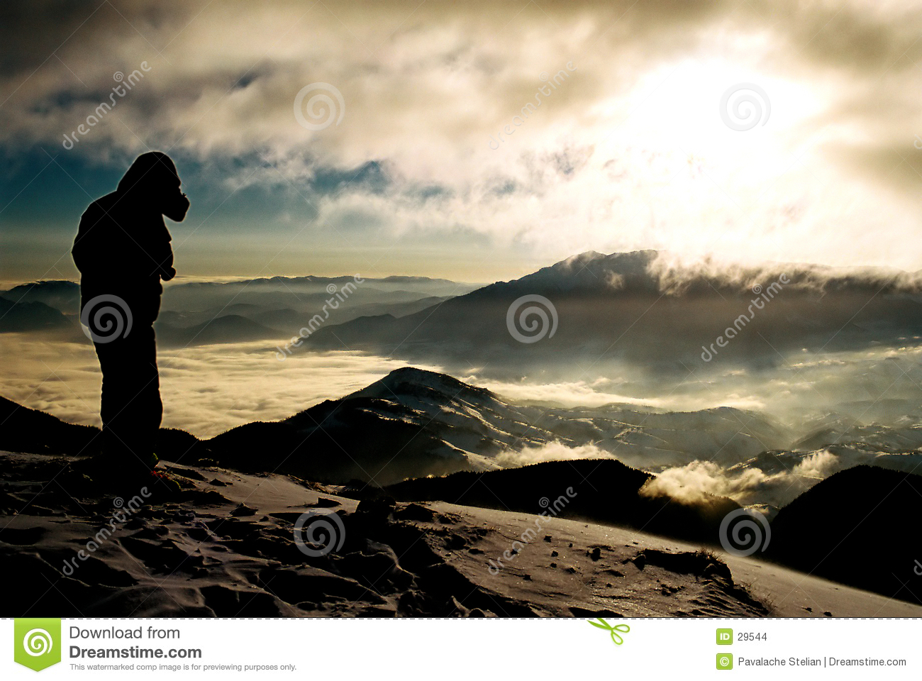 Mountain landscape with silhouette