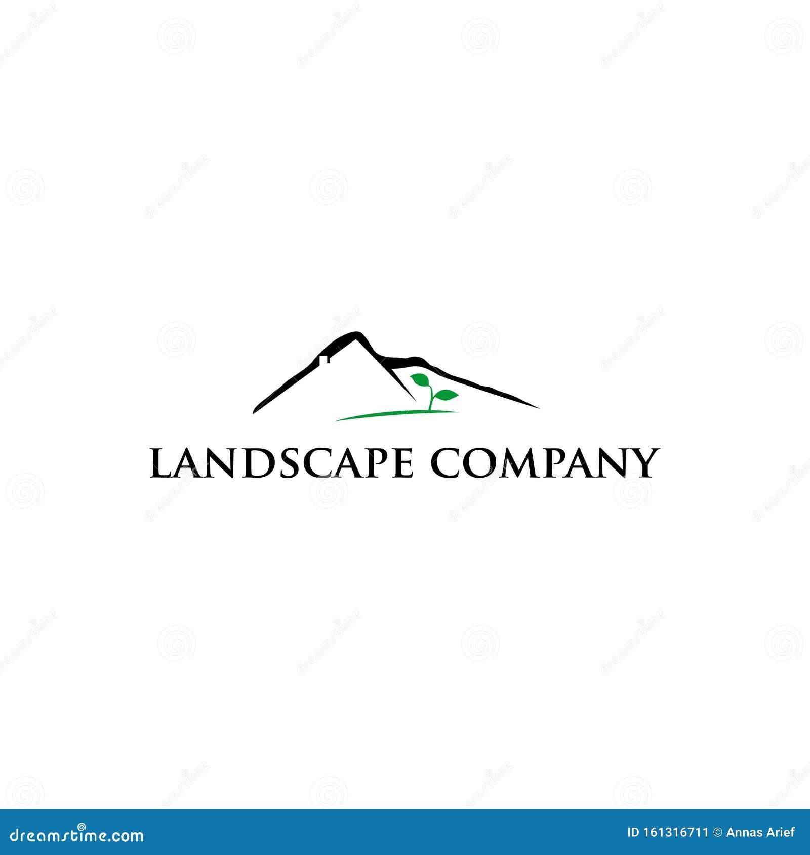 Mountain And Leaf Landscape Logo Design Inspiration Stock