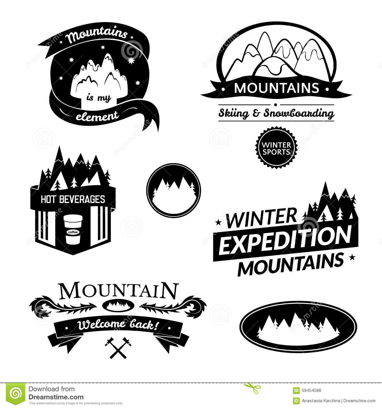 mountain logo and label set stock vector illustration of camping