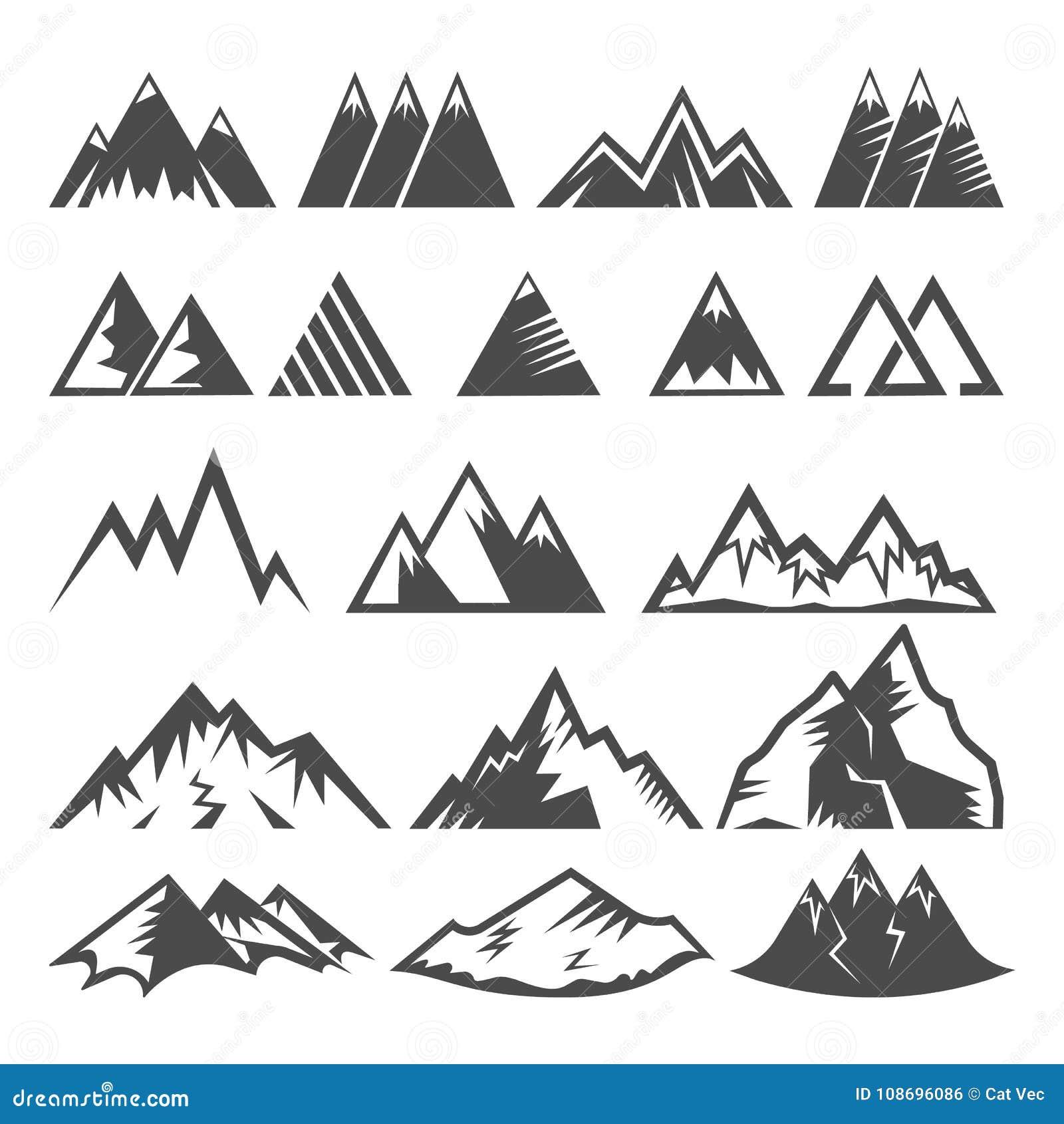 Mountain logo vector mounting logotype peak of mount and winter mountainous valleys hiking mountaineering rock climbing
