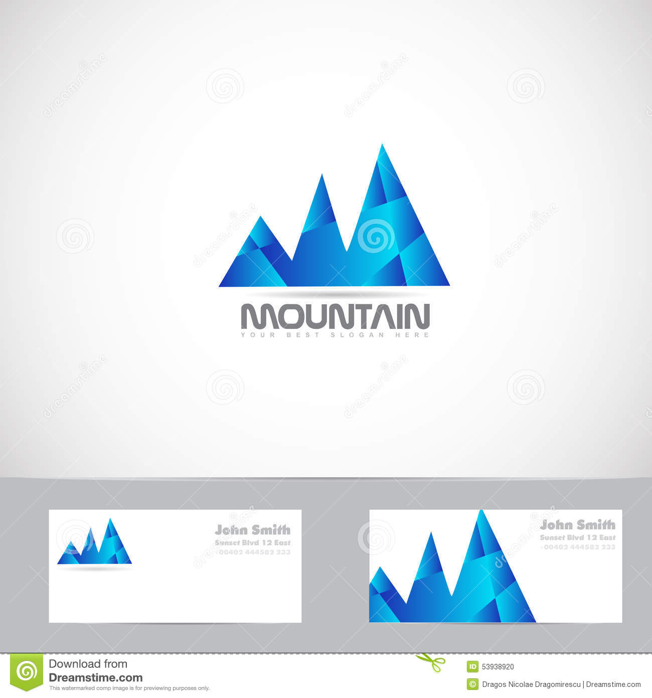 Vector logo template of blue mountain shape 3d with business card.