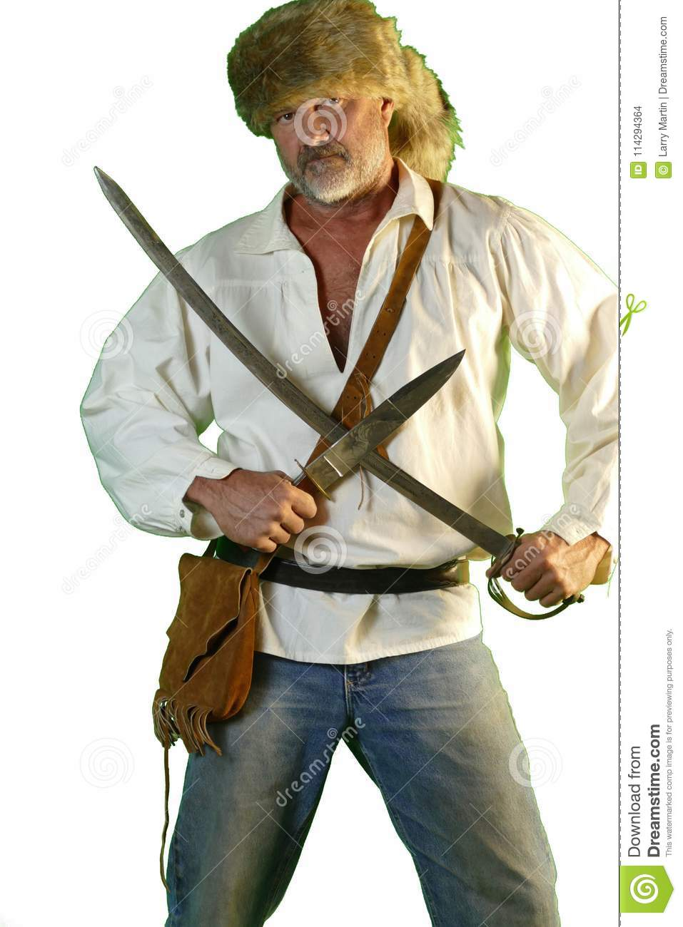Mountain Man With Bowie Knife And Saber  Stock Photo - Image