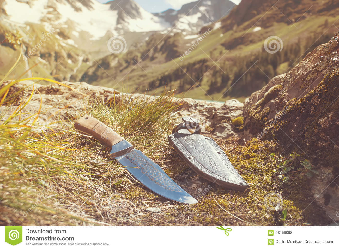 A Mountain Man Knife And Leather Sheath Displayed Stock Photo