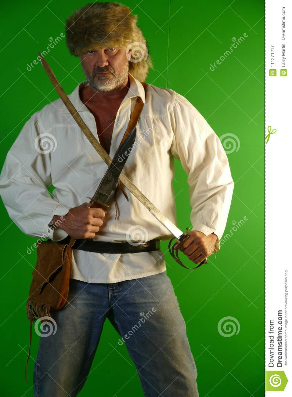Mountain Man With Saber And Knife Stock Image - Image of