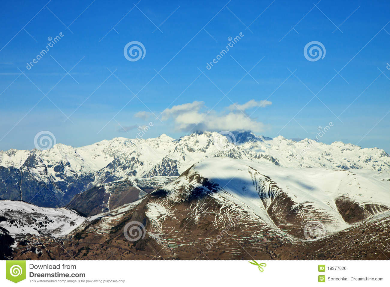 Mountain Panorama With Blue Cloudy Sky Stock Photo - Image ...