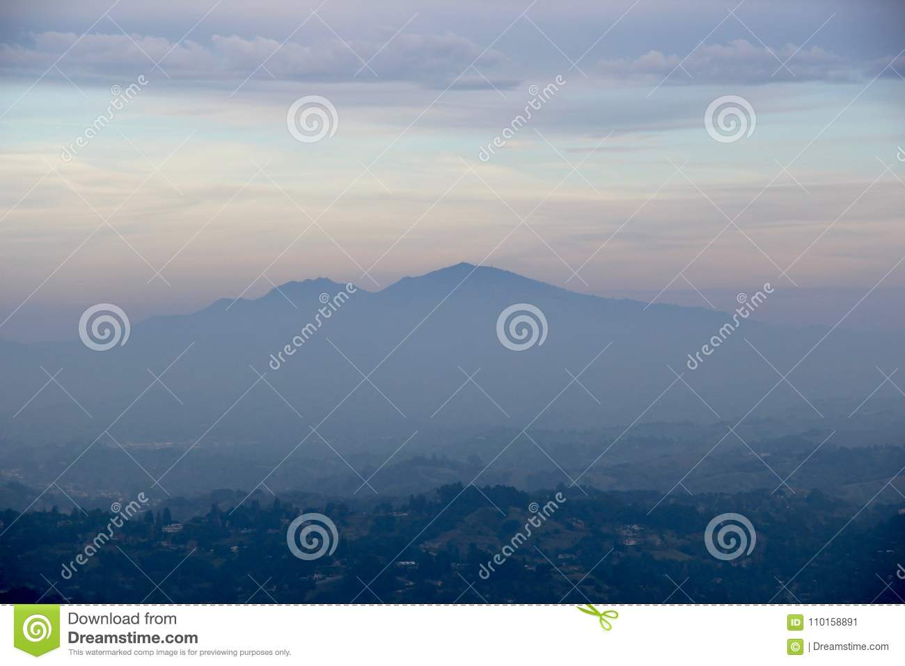 A mountain peak in the distance