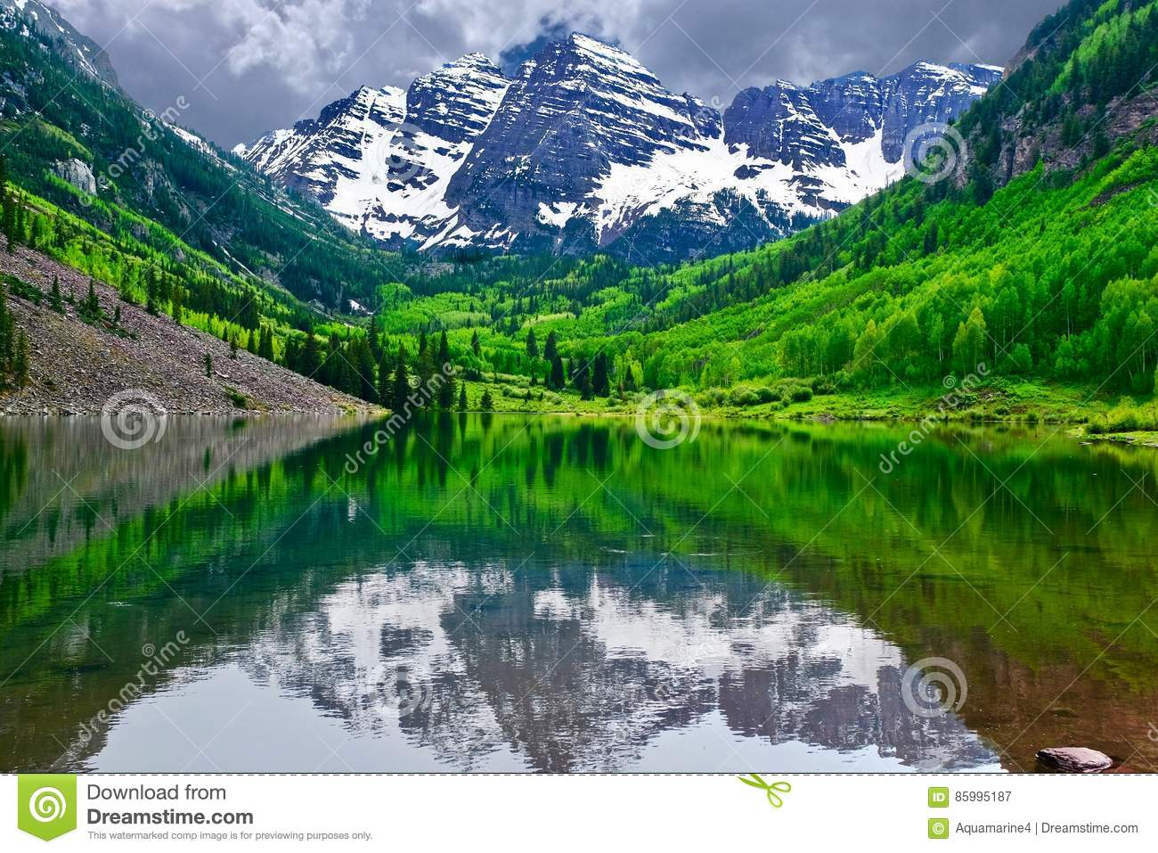 Maroon Bells Reflection In Lake In Colorado Stock Image