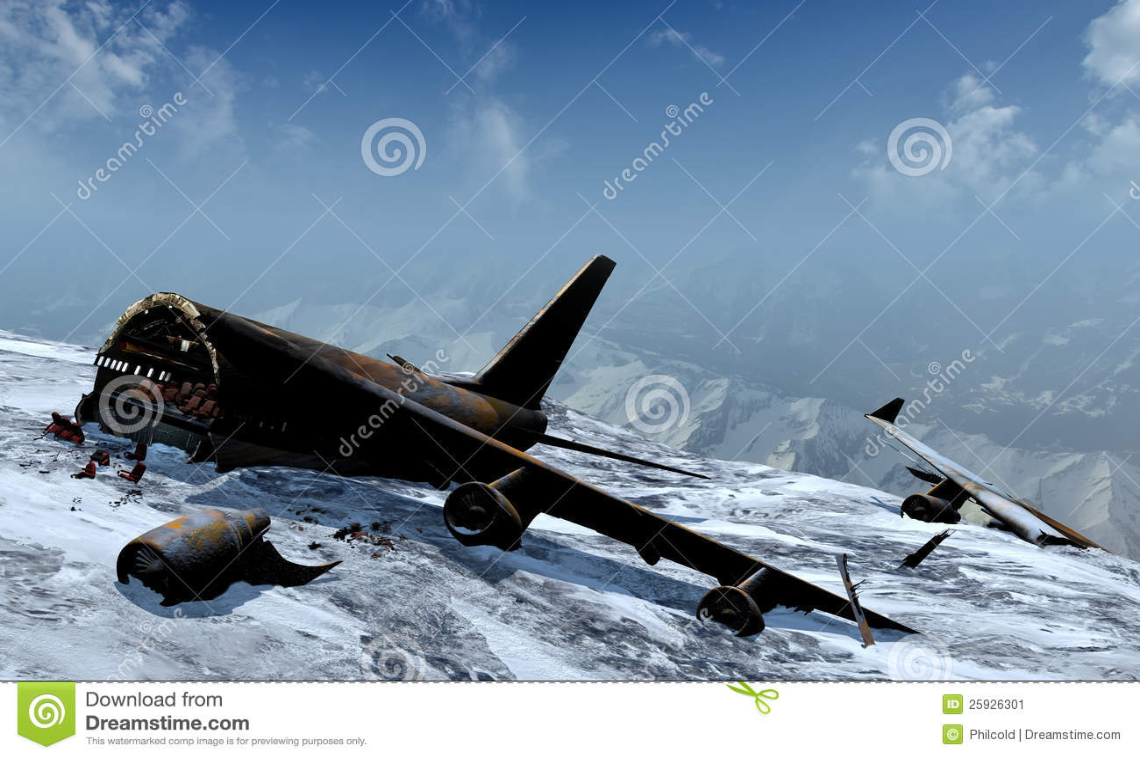 Mountain Plane Crash Stock Image - Image: 25926301