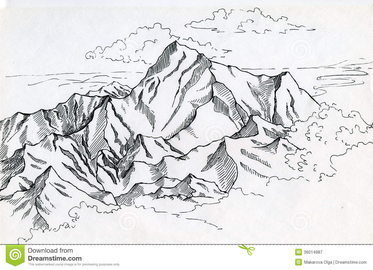 Line Drawing Clouds : Mountain range drawin in ink stock illustration