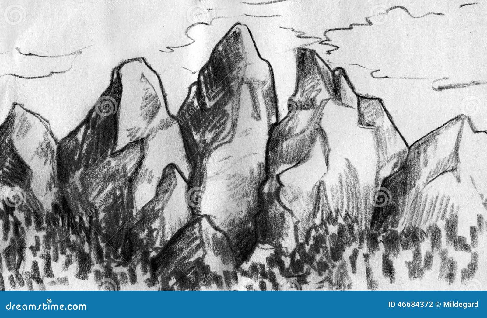 Mountain range sketch stock illustration. Illustration of ...