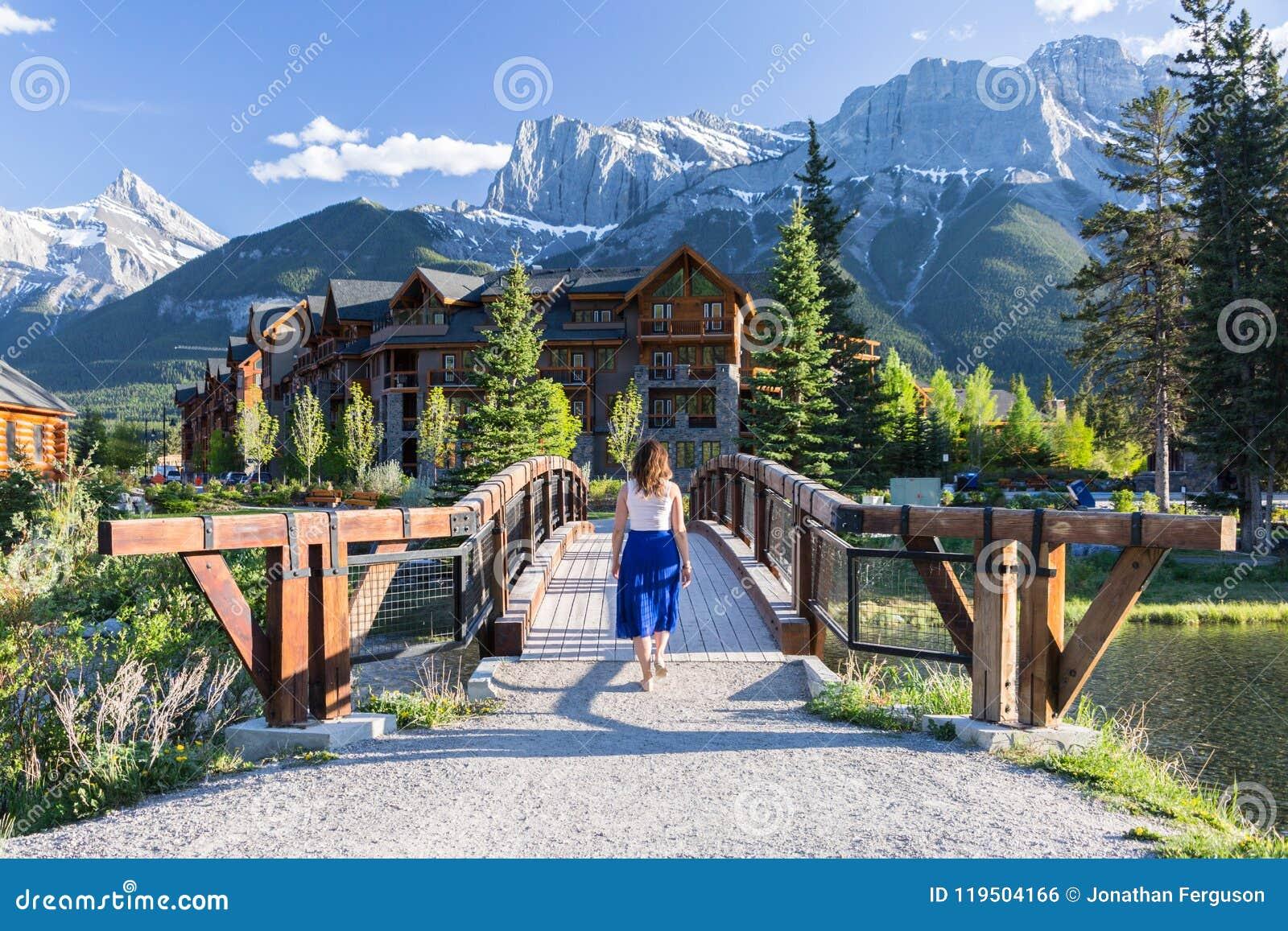 mountain retreat chalet stock photo. image of woman - 119504166