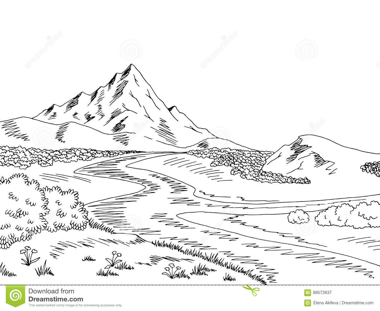 outline images of mountain landscapes