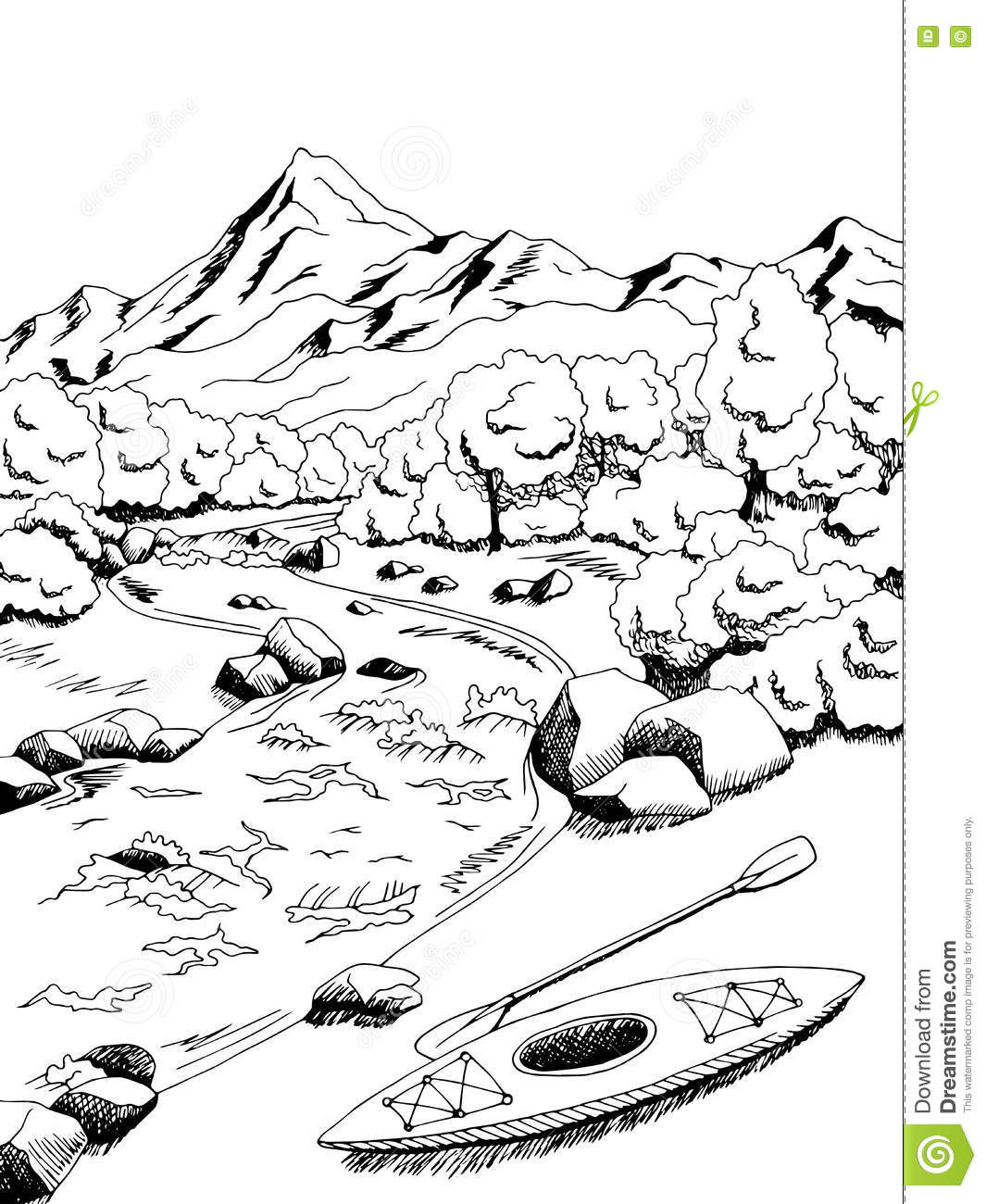 Line Drawing River : Mountain river graphic art black white landscape sketch