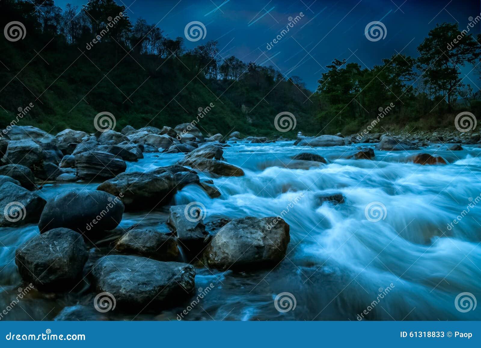 Mountain river nightscape