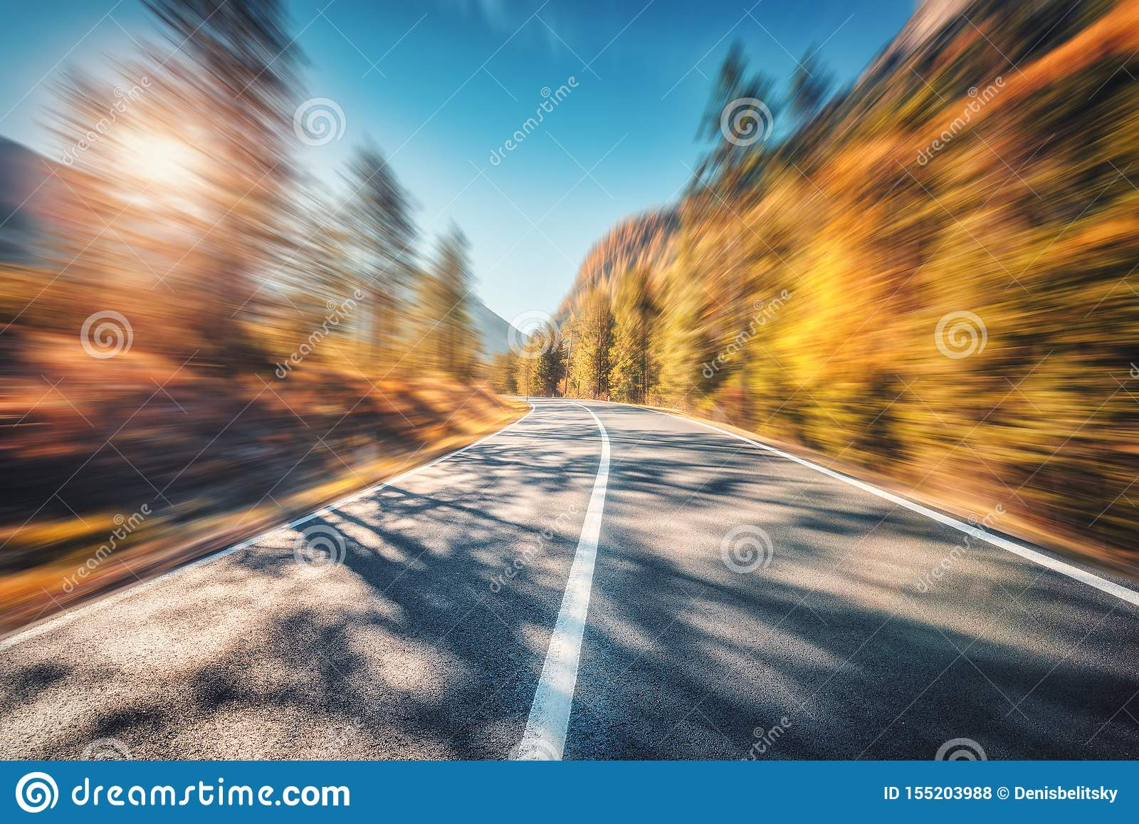 Mountain Road In Autumn Forest At Sunset With Motion Blur Effect Stock Photo Image Of Nature Concept 155203988