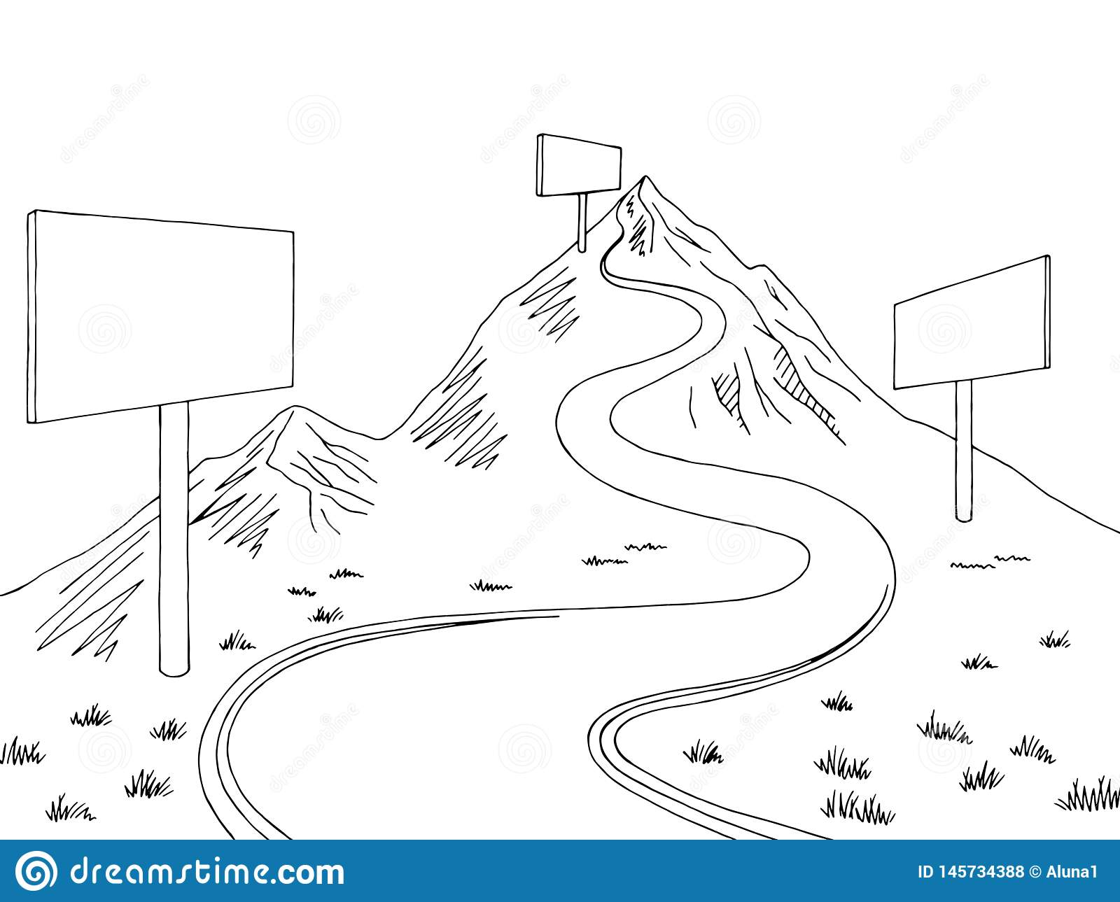 Mountain Road Billboard Graphic Black White Landscape Sketch Illustration Vector Stock Vector Illustration Of Plant Copy 145734388