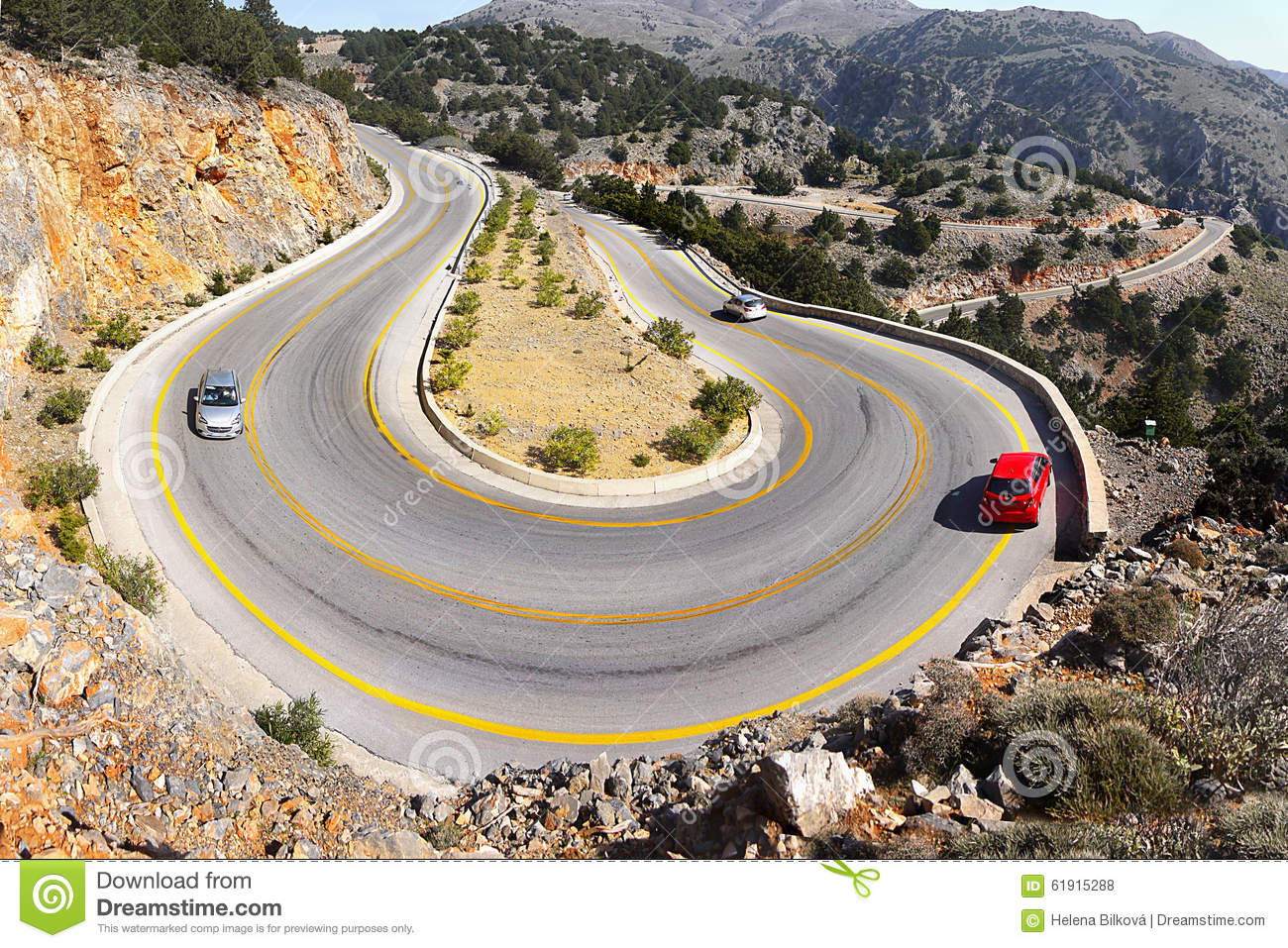 Mountain Road Dangerous Hairpins Bends Stock Photo - Image of