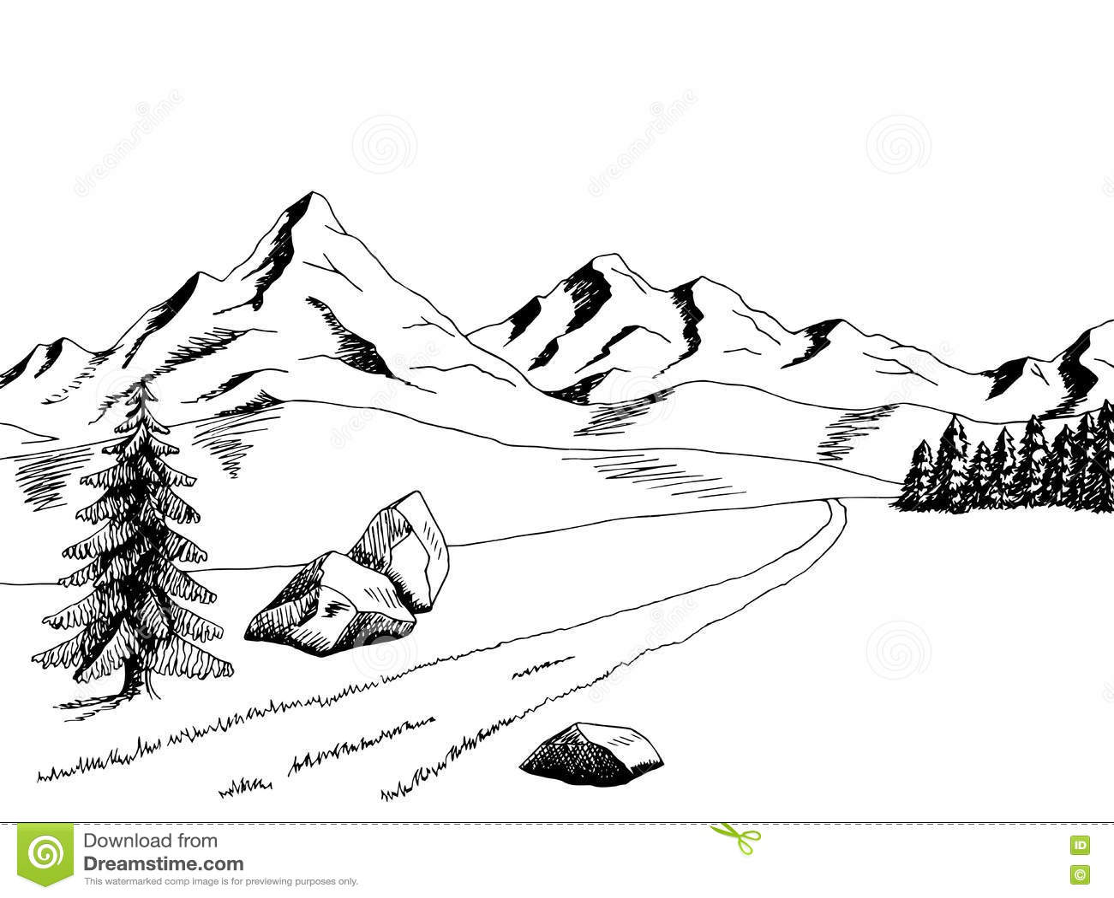 mountain landscape black and white clip art � cliparts